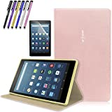 Mignova Folio Case for Amazon Fire HD 8 Tablet (2017 Release 7th Gen) - Ultra Light Slim Fit Protective Cover with Magnetic closure + Screen Protector Film and Stylus Pen (Rose Gold)