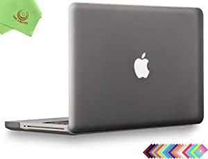 UESWILL Smooth Soft-Touch Matte Hard Shell Case Cover for MacBook Pro 15 inch with CD-ROM (Non-Retina) (Model A1286) + Microfibre Cleaning Cloth, Gray