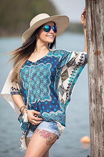 styleBREAKER - Poncho - capa - Étnica - Cuello redondo - Manga corta - para mujer gris claro