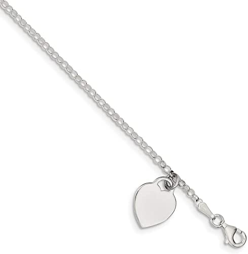 7mm Solid 925 Sterling Silver 10inch Polished Heart
