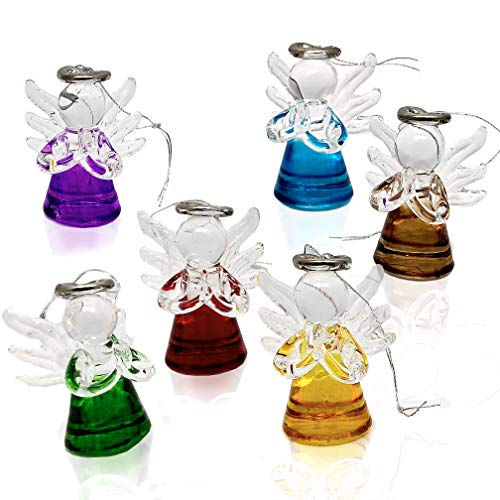 Elysian Gift Shop Beautiful Mini Multi Colored Glass Assorted Angels Christmas Tree Ornaments, Christmas Season Holiday Decorations Hanging Ornaments -Pack of 6 Angels -