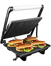 Aicok Panini Press, 4 Slice Non-Stick Sandwich Maker, 3 in 1 Stainless Steel Panini Grill with Rotable Flat Plates and Removable Drip Tray, Vertical Storage, 1200W, Silver