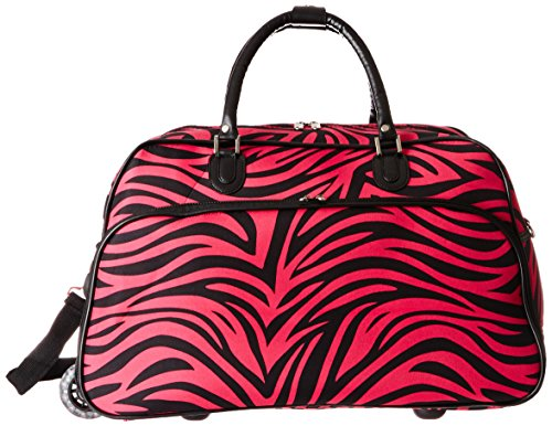 - World Traveler 21-Inch Carry-On Rolling Duffel Bag, Fuchsia Black Zebra