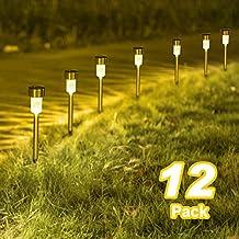 Sunnest Warm White Solar Garden Lights Outdoor, Solar Powered Pathway Lights, Outdoor Landscape Lighting for Garden/Yard/Lawn/Patio/Walkway/Driveway(12 Pack)