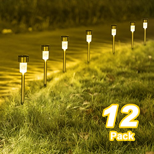 Sunnest Warm White Solar Garden Lights Outdoor, Solar Powered Pathway Lights, Outdoor Landscape Lighting for Garden/Yard/Lawn/Patio/Walkway/Driveway(12 Pack)
