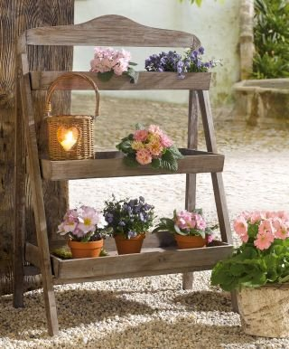 Outdoor Wooden Plant Stand - Plant Stand for Outdoor or Greenhouse, Three Shelves Product SKU: GD221582