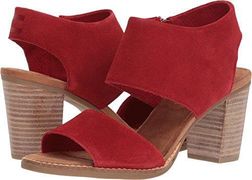 TOMS Women's Majorca Cutout Sandal Red Suede 9 B US -