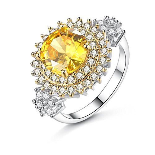 TEMEGO Large Canary Yellow CZ Double Halo Engagement Ring,14k Silver Cluster CZ Cocktail Statement Ring