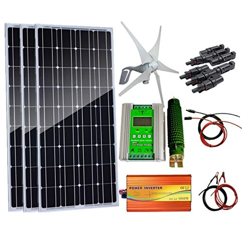 AUECOOR 700W Wind-Solar Generator Kit: 400W Wind Turbine Generator &3PCS 100W Solar Panels+1000W 12V-110V /220V/230V Pure sine Wave Inverter & Hybrid Controller ()