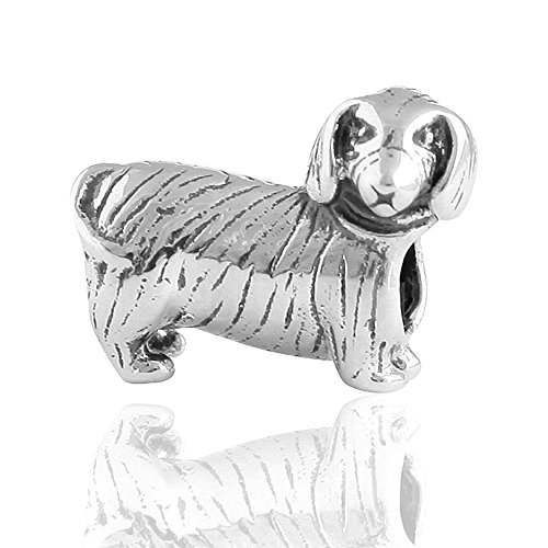 The Kiss Pet Lover Dog Puppy Paw Family 925 Sterling Silver Bead Fits European Charm Bracelet (Dachshund Dog)