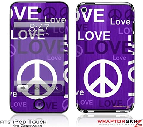 iPod Touch 4G Decal Style Skin - Love and Peace Purple - Case Faceplate Cover Ipod