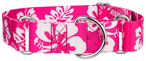 Country Brook Petz | 1 1/2 Inch Pink Hawaiian Martingale Dog Collar - Medium