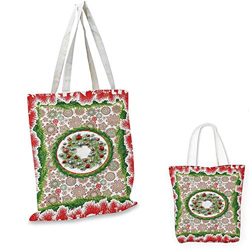 (Christmas shopping tote bag Fir Tree Wreath with Vivid Bauble Figures Ornate Flowers Bells Presents Print travel shopping bag Multicolor.)