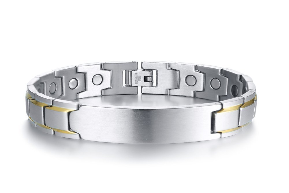 VNOX Custom-12MM Silver Stainless Steel Two Tone Magnetic Adjustable Therapy Link Bracelet,Free Remove Tool