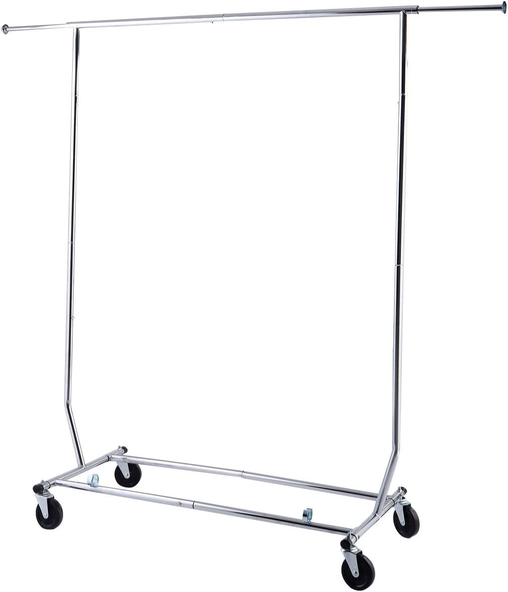 Portable Single-bar Steel Adjustable Clothing Garment Rolling Clothes Rack US