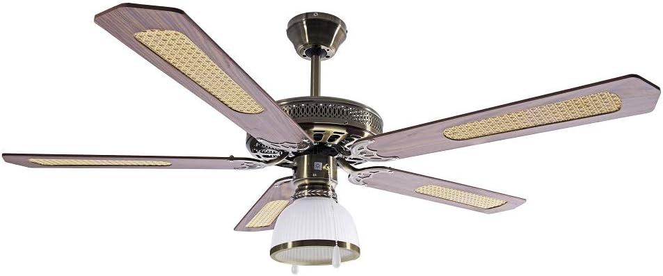 Ardes ar5a130d Ventilador de techo con luz, 3velocidad, 5aspas Reversible Control a cordón, Nogal/Paja de Vienna, diámetro 130cm