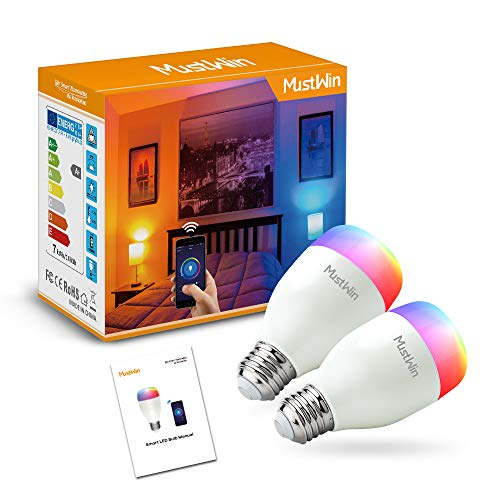 MustWin Smart LED Bulbs, Color Changing Lights Bulbs, Wi-Fi Smart Bulbs Works with Alexa and Google Home, 7W A19 Energy-Saving Smart Light Bulbs No Hub Required, APP Remote Control, 2 Pack