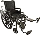 Roscoe Medical W416168E Onyx K4 Wheelchair with Elevating Leg Rests, 16''