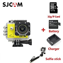 Original SJCAM SJ5000X Elite Sport Action Camera 4K 1080P WiFi Waterproof 170° Lens 12MP SONY IMX078 Gyro AV or HDMI Out And OSD Enabled with 32G TF Card Extra Battery Charger Selfie stick Yellow