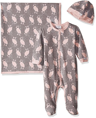Pink Puffin Print Jersey Knit Cotton Footie + Cap + Blanket, Heather Pink/Slate Print, 6 Months ()