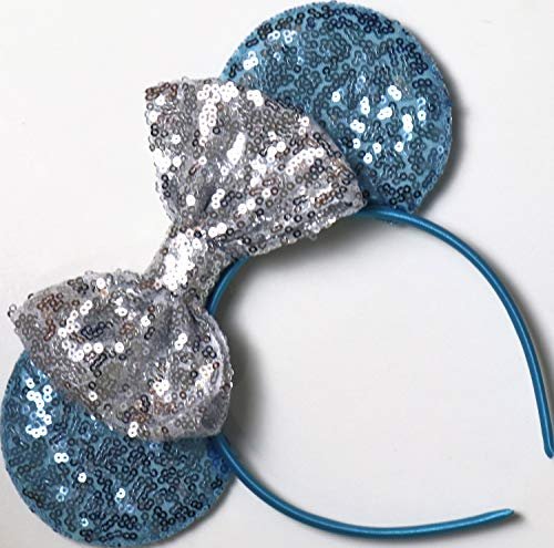 CLGIFT Cinderella Inspired Minnie Mouse Ears, Blue Mickey Mouse Ears, Princess Ears, Cinderella Minnie Ears, Rainbow Sparkle Mouse Ears,Classic Red Sequin Minnie Ears (Cinderella) -