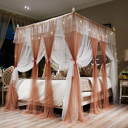 Joyreap 4 Corners Post Canopy Bed Curtains for Girls - Coral & White Cozy Drape Netting - 4 Openings Mosquito Net - Cute Princess Style Bedroom Decoration Accessories(Reddish Brown,86