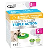 Catit Fountain Triple Action Replacement Filters, Medios filtrantes para Fuente (5 Paquetes)