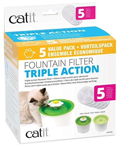 Catit Cat Water Fountain Replacement Filters, Triple Action Filters for Flower Water Fountain Dispenser, Pack of 5 ()