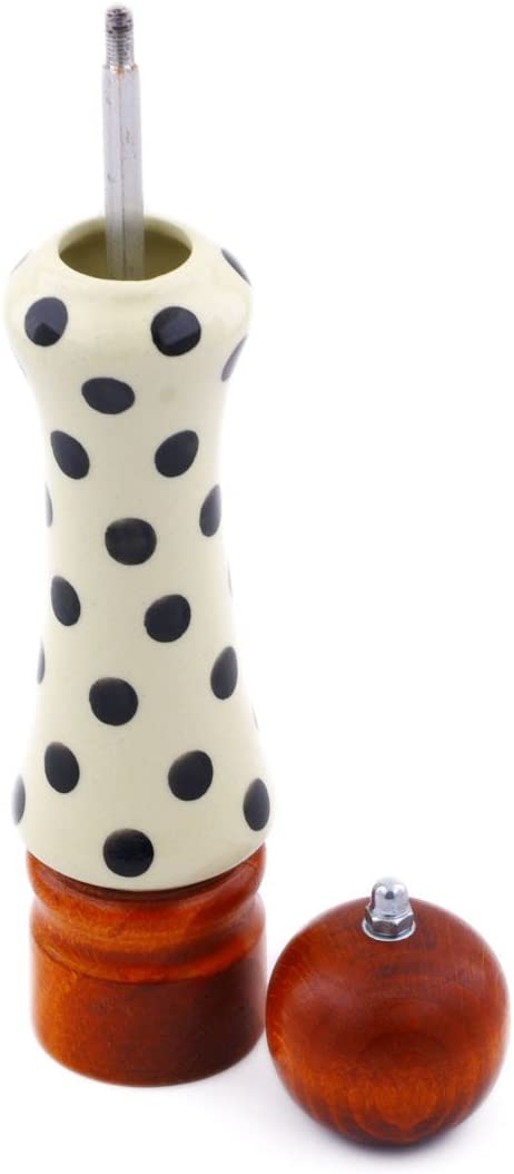 Polish Pottery 8/¼-inch Pepper Grinder Certificate of Authenticity Polka Dot Theme