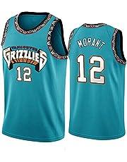 LDHY Mannen Basketbal Draag Grizzlies Morant # 12 Jeugd Geborduurd Basketbal Jersey Sport Outdoor Vest Sneldrogend Comfortabele Mouwloos College Basketbal Jersey S-2XL