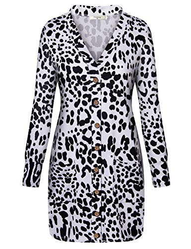 (Viracy Petite Cardigan, Women V-Neck Button Down Leopard Print Coat Long Sleeve Soft Basic Outerwear Flyaway Vintage Kimono Jersey Holiday Shirt Lightweight Flattering Top White and Black Small)