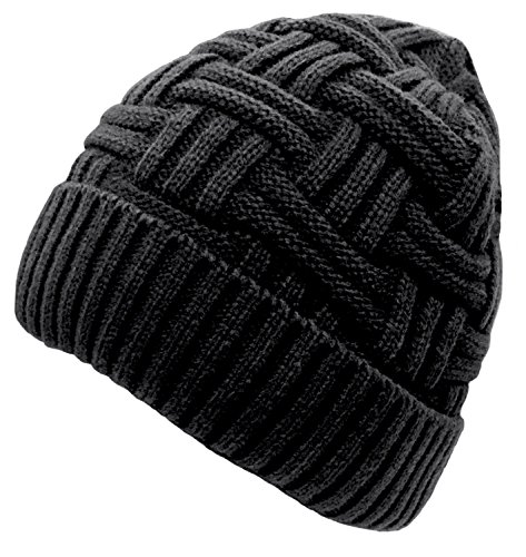 Knit Hat Sweater (Loritta Mens Winter Warm Knitting Hats Wool Baggy Slouchy Beanie Hat Skull Cap)