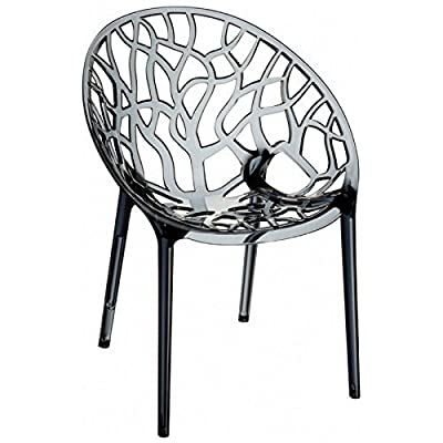 Design Tree Home Crystal Polycarbonate Modern Transparent Dining Chair, Smoke - Extremely durable and sturdy made from polycarbonate Indoor/outdoor Scratch resistant - kitchen-dining-room-furniture, kitchen-dining-room, kitchen-dining-room-chairs - 51TNA9Q%2BsWL. SS400  -