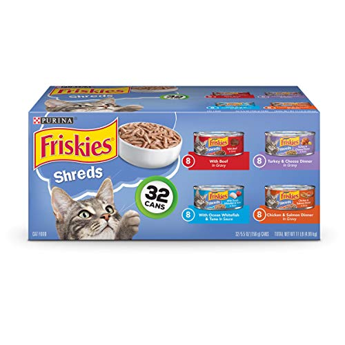(Purina Friskies Savory Shreds Adult Wet Cat Food Variety Pack - (32) 5.5 Oz. Cans)