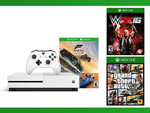 Xbox One S 500GB Console – Forza Horizon 3 Hot Wheels Console Bundle + Grand Theft Auto V + WWE 2K16 Bundle ( 3 – Items )
