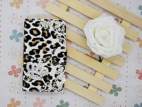 Luxury Crystal Rhinestone Diamond LOVE CROWN CRYSTAL Leopard Velvet COVER WALLET CASE FOR white LG G G3 Vigor MINI (Lg G3 Vigor Leopard Phone Case)