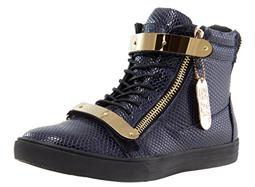 Jump J75 Men's Zion Round Toe Rhinestone Strap Lace-up High-Top Sneaker Navy Stamp Patent buy cheap footaction sale shop best for sale cheap price for sale U4FRgb
