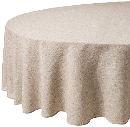 Fennco Styles Toscana Contemporary Linen Blend Natural for Dinner Table, Parties, Wedding Decorations Tablecloth 90 Inch ()
