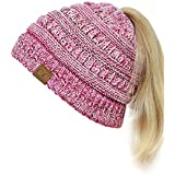 C.C BeanieTail Soft Stretch Cable Knit Messy High Bun Ponytail Beanie Hat, 3 Tone Pink