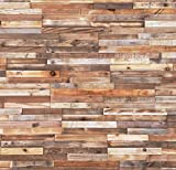 interior wood paneling Timberwall - Reclaimed Collection - Stripes - DIY Wood Wall Panels - Solid Wood Planks - Nails and Staples Application - 7.4 Sq Ft