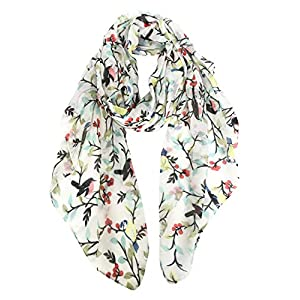 GERINLY Scarfs for Women Lightweight Floral Birds Print Cotton Scarves and Wraps for Holiday