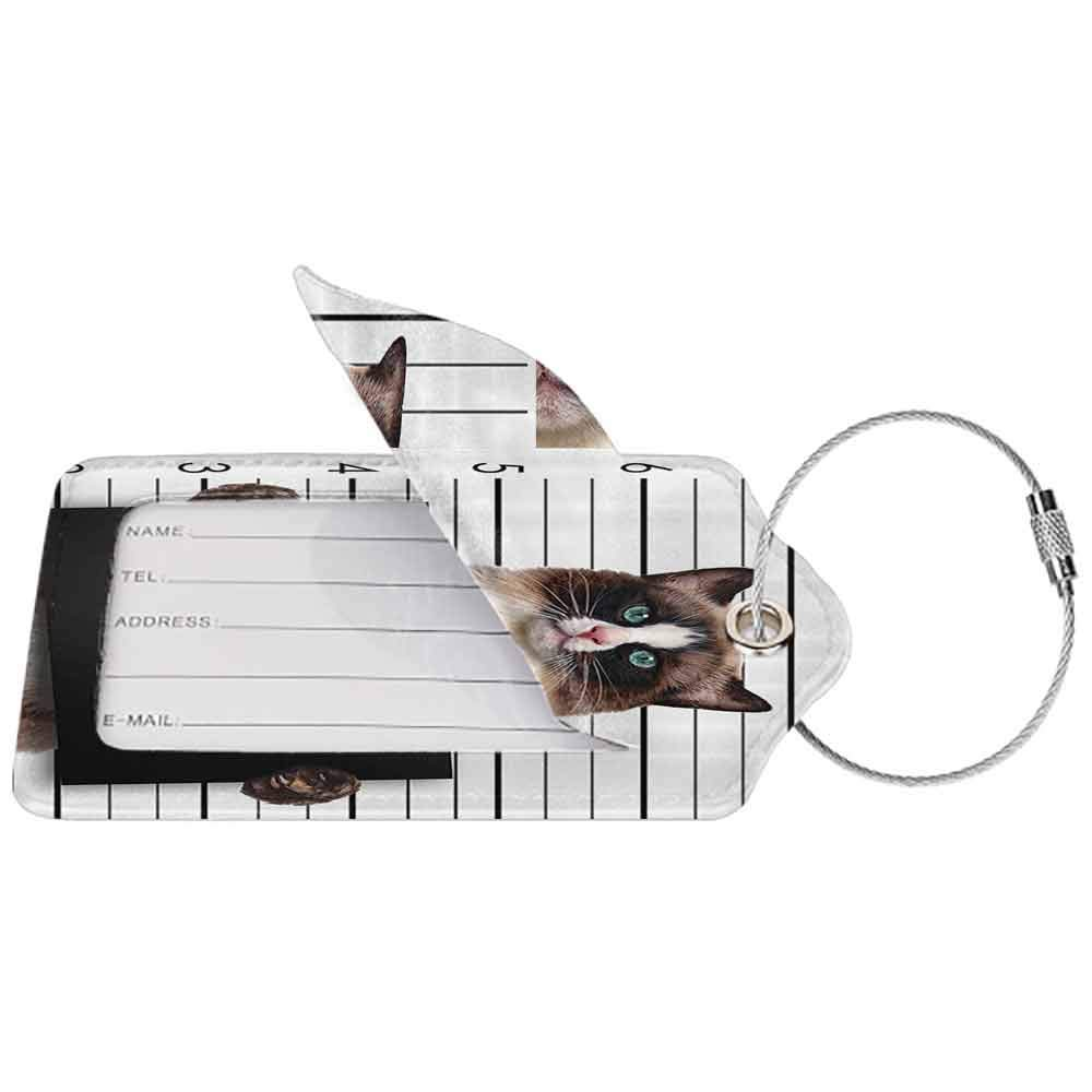 Waterproof luggage tag Cat Lover Decor Bad Gang Cat in Jail Kitty Under Arrest Criminal Prisoner Hangover Artsy Work Soft to the touch Brown Black White W2.7 x L4.6