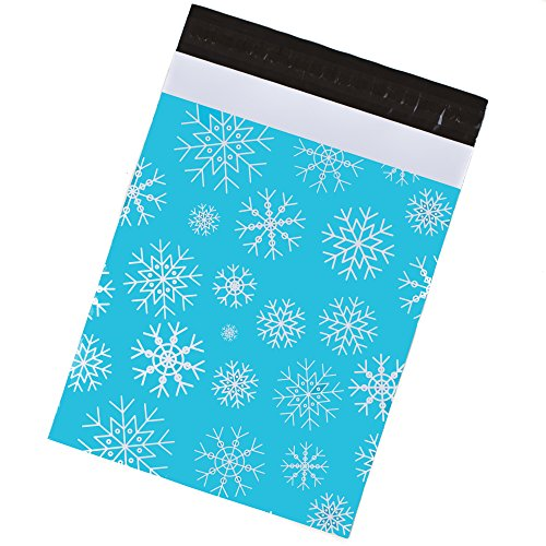 Poly Mailers 10x13 - Winter Snowflakes Holiday Print – Premium Shipping Envelopes by Inspired Mailers - Pack of 100