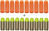 plastic 9mm bullets - GLOCK Factory 9mm Orange Dummy Rounds, 10 Pack + Ultimate Arms Gear ST Action Pro 10 Pack of Inert 9x19mm Parabellum NATO Luger Pistol Yellow Safety Trainer Cartridge Ammo Shell Rounds Nickel Case