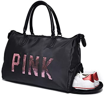 SPOROWJD NEW Sequins Love PINK Women Gym Bag Fitness Travel Handbag Outdoor  Separate Space Women s Bag d6ea7924d28eb