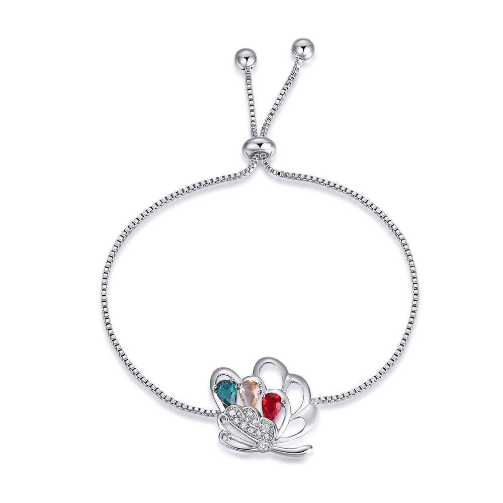 YAZILIND Platinum Plated Adjustable Tennis Bracelet Brilliant Cut Charm Butterfly Colorful Cubic Zirconia Jewelry Women Girl Gift