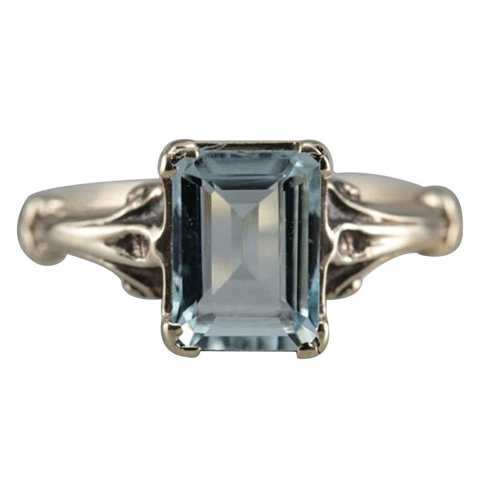 Slendima Elegant Concise Faux Square Topaz Ring Women Bride Wedding Engagement Party Jewelry Gift Light Blue US 10
