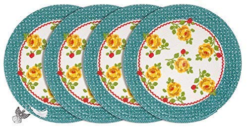 (Luvial Desings Country Fresh Vintage Floral Braided Round Placemat Set of 4-pc by Lisa Audit with Angel Book Mark/Ornament (Dot Floral))