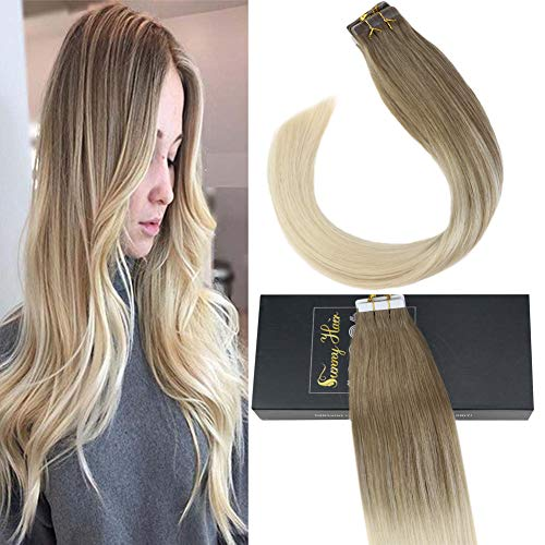 Sunny 18inch Dip Dyed Tape in Hair Extensions Ombre Dark Blonde Fading to White Blonde Remy Human Hair Extensions Tape in Skin Weft Hair 50g 20pcs