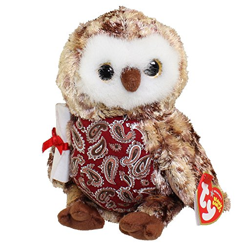 TY Beanie Baby - SMARTY the Graduation Owl (w/Red Chest & No Hat version) (6.5 inch)